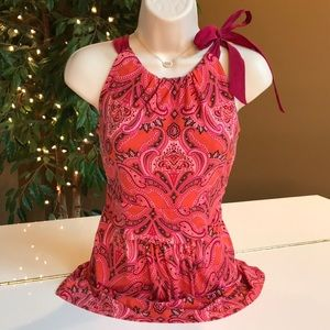 ANN TAYLOR CORAL, RED, PINK, TIE AT NECK TOP SZ M